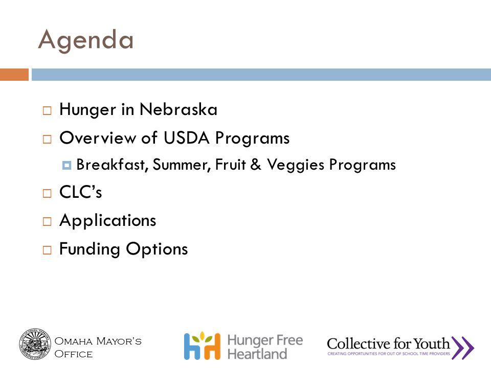 Omaha Mayor's Office Agenda  Hunger in Nebraska  Overview of USDA Programs  Breakfast, Summer, Fruit & Veggies Programs  CLC's  Applications  Fu