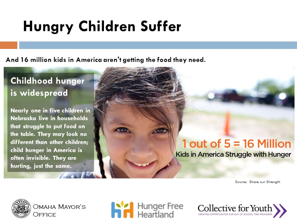 Omaha Mayor's Office Omaha Mayor's Office And 16 million kids in America aren't getting the food they need. Childhood hunger is widespread Nearly one