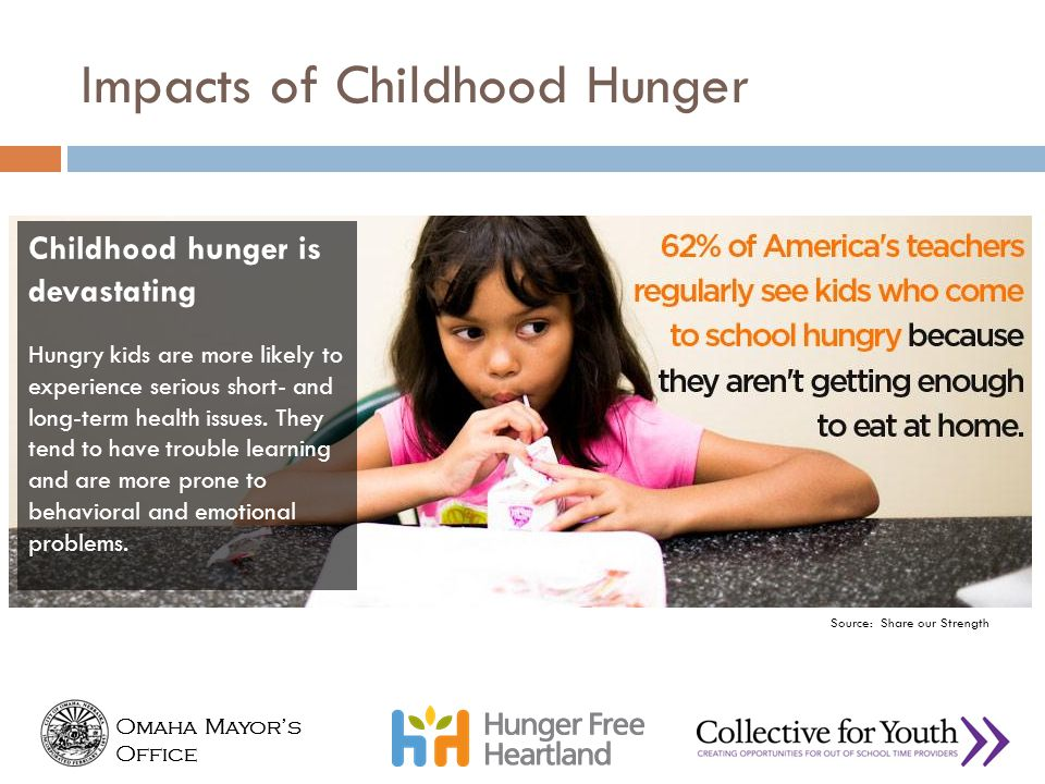 Source: Share our Strength That child who doesn't have enough to eat isn't going to do as well in school.