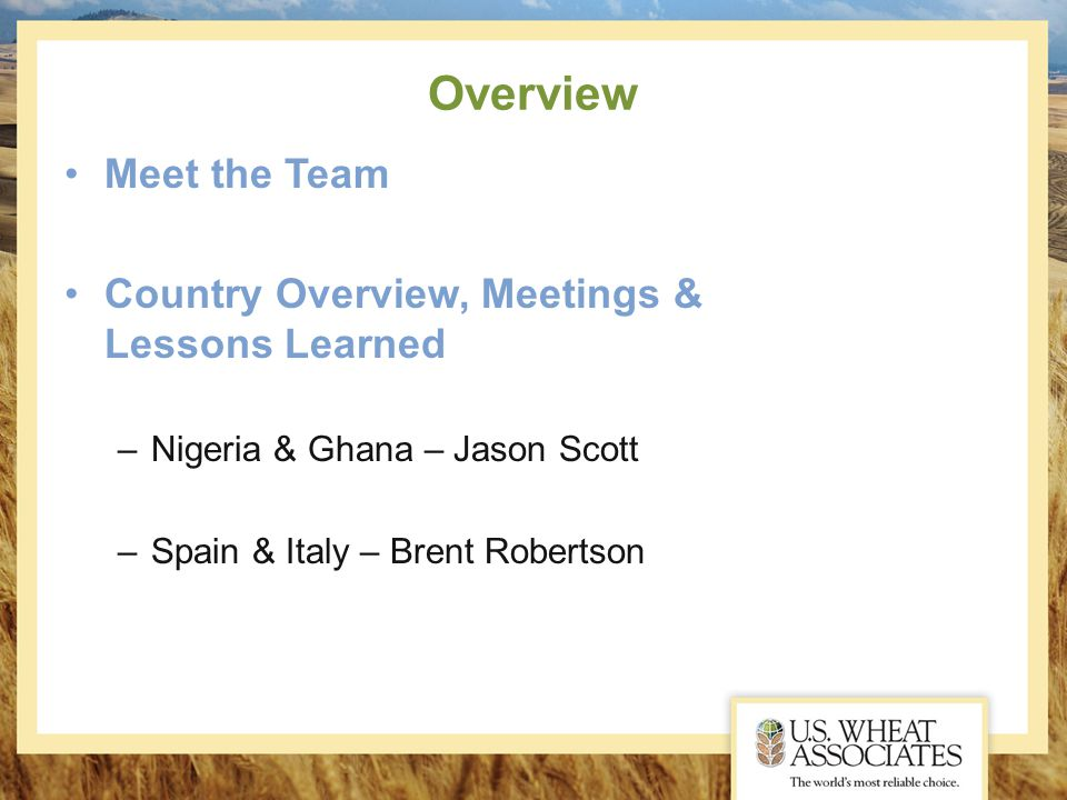 Overview Meet the Team Country Overview, Meetings & Lessons Learned –Nigeria & Ghana – Jason Scott –Spain & Italy – Brent Robertson