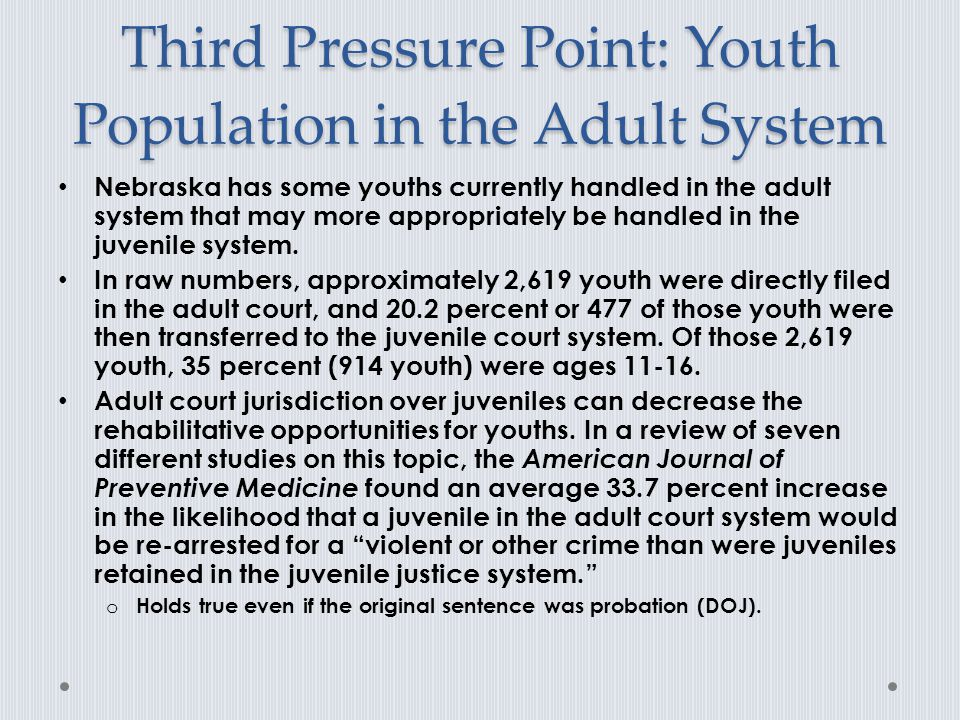 Third Pressure Point: Youth Population in the Adult System Nebraska has some youths currently handled in the adult system that may more appropriately be handled in the juvenile system.