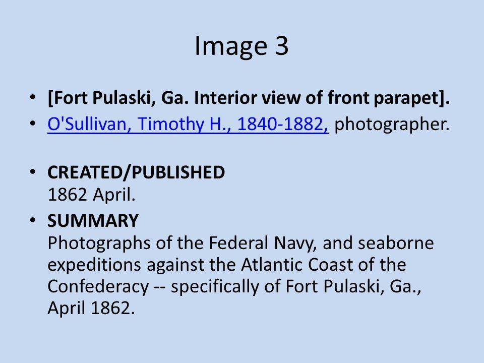 [Fort Pulaski, Ga. Interior view of front parapet]. O'Sullivan, Timothy H., 1840-1882, photographer. O'Sullivan, Timothy H., 1840-1882, CREATED/PUBLIS