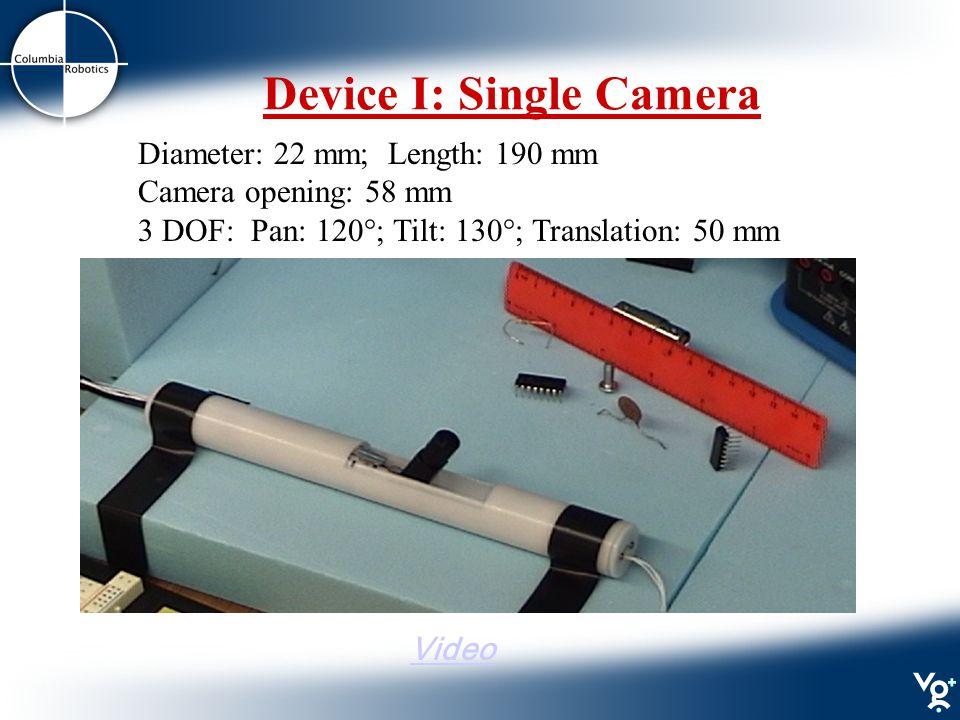 Device I: Single Camera Diameter: 22 mm; Length: 190 mm Camera opening: 58 mm 3 DOF: Pan: 120°; Tilt: 130°; Translation: 50 mm Video