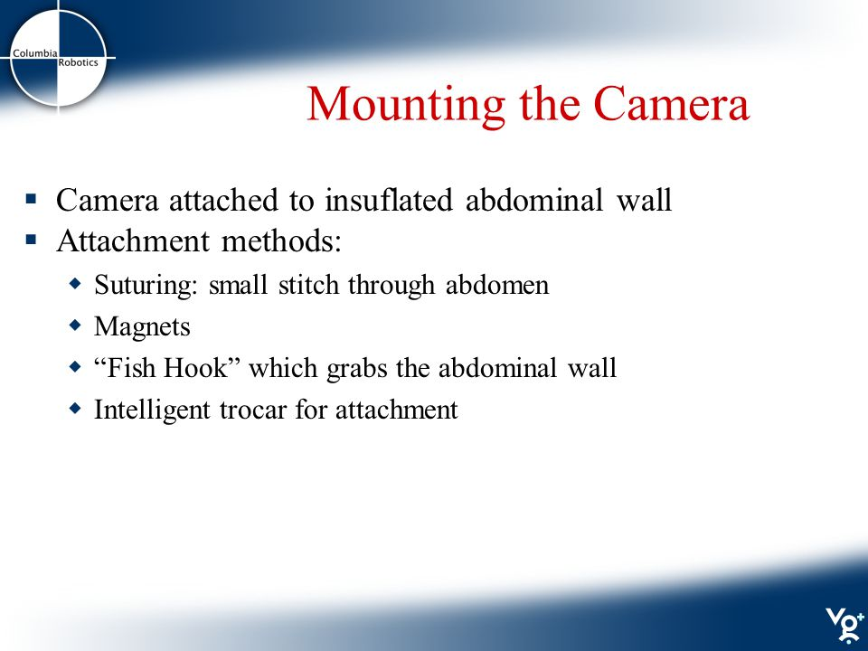 Mounting the Camera  Camera attached to insuflated abdominal wall  Attachment methods:  Suturing: small stitch through abdomen  Magnets  Fish Hook which grabs the abdominal wall  Intelligent trocar for attachment