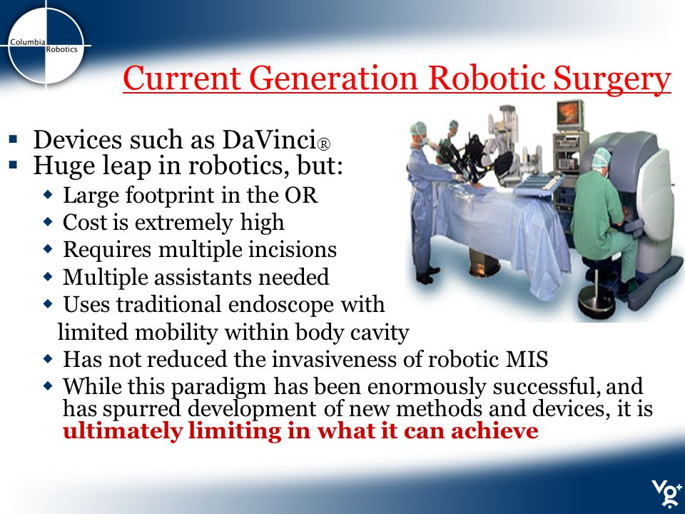 Current Generation Robotic Surgery  Devices such as DaVinci ®  Huge leap in robotics, but:  Large footprint in the OR  Cost is extremely high  Requires multiple incisions  Multiple assistants needed  Uses traditional endoscope with limited mobility within body cavity  Has not reduced the invasiveness of robotic MIS  While this paradigm has been enormously successful, and has spurred development of new methods and devices, it is ultimately limiting in what it can achieve