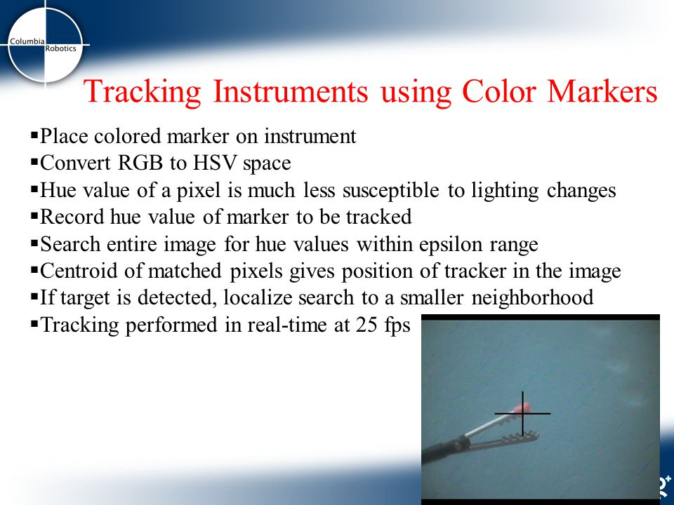  Place colored marker on instrument  Convert RGB to HSV space  Hue value of a pixel is much less susceptible to lighting changes  Record hue value of marker to be tracked  Search entire image for hue values within epsilon range  Centroid of matched pixels gives position of tracker in the image  If target is detected, localize search to a smaller neighborhood  Tracking performed in real-time at 25 fps Tracking Instruments using Color Markers