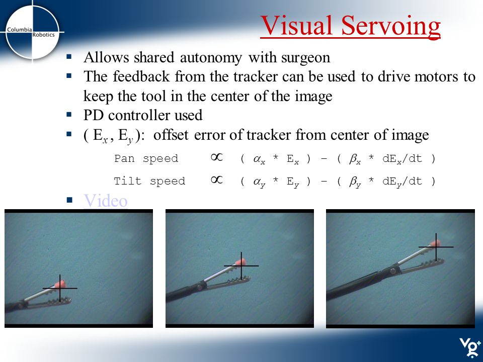 Visual Servoing  Allows shared autonomy with surgeon  The feedback from the tracker can be used to drive motors to keep the tool in the center of the image  PD controller used  ( E x, E y ): offset error of tracker from center of image Pan speed  (  x * E x ) – (  x * dE x /dt ) Tilt speed  (  y * E y ) – (  y * dE y /dt )  Video Video