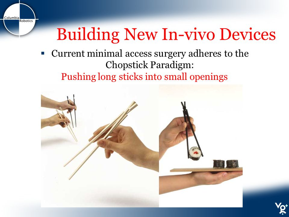 Building New In-vivo Devices  Current minimal access surgery adheres to the Chopstick Paradigm: Pushing long sticks into small openings