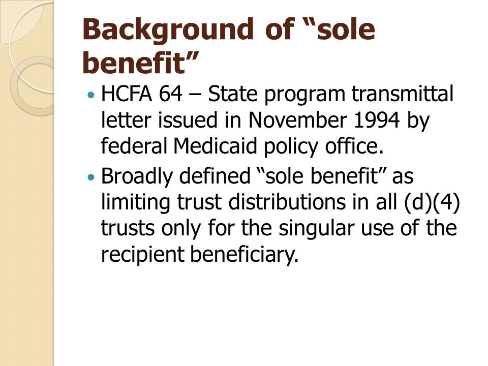 Background of sole benefit HCFA 64 – State program transmittal letter issued in November 1994 by federal Medicaid policy office.