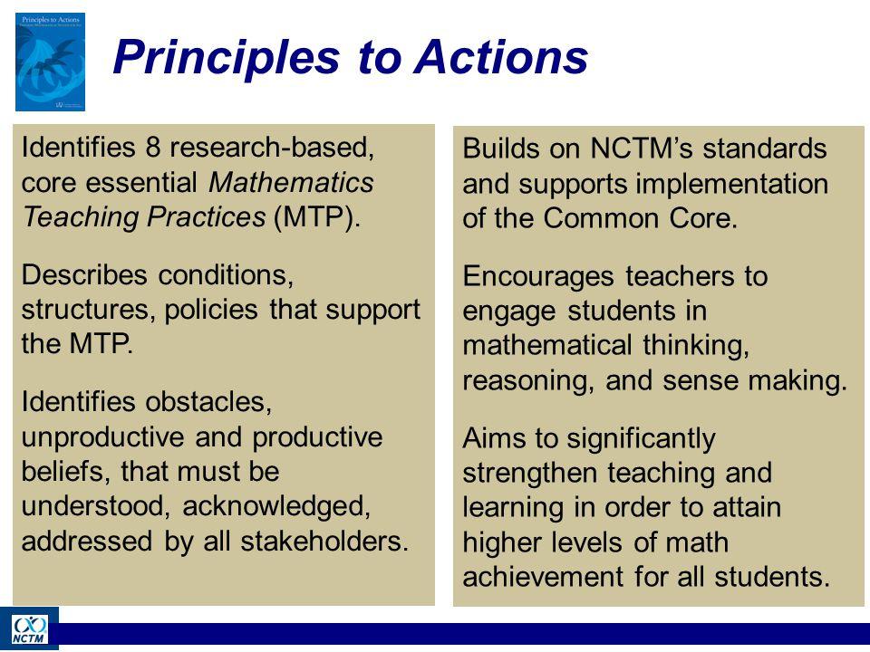 NCTM's Core Set of Effective Mathematics Teaching Practices