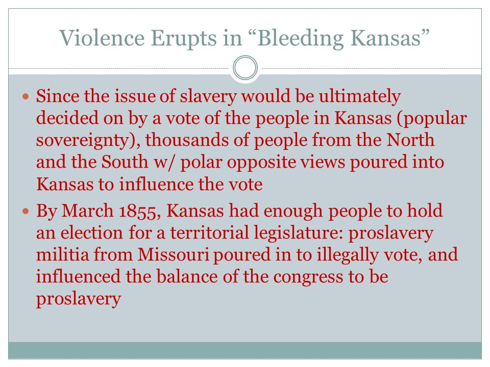 """Violence Erupts in """"Bleeding Kansas"""" Since the issue of slavery would be ultimately decided on by a vote of the people in Kansas (popular sovereignty)"""