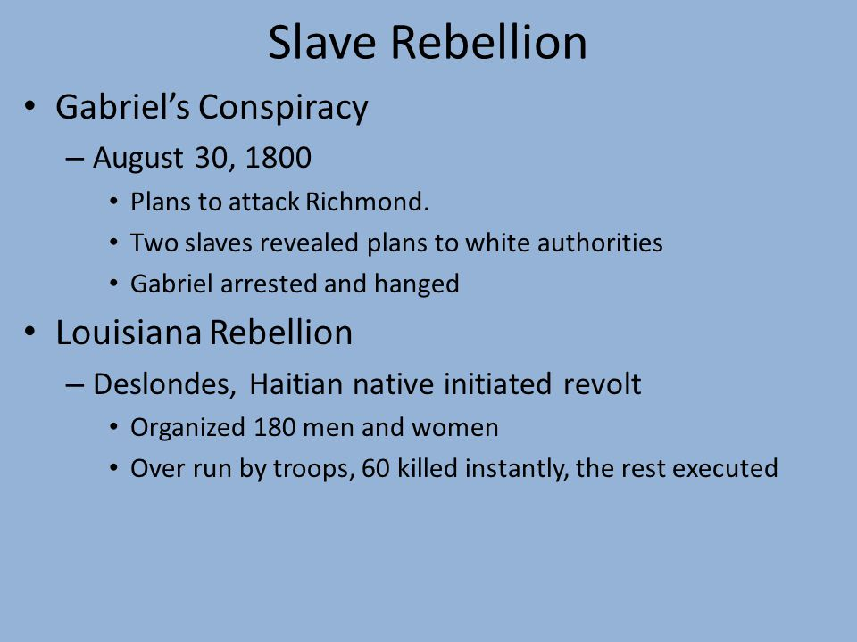 Slave Rebellion Gabriel's Conspiracy – August 30, 1800 Plans to attack Richmond.