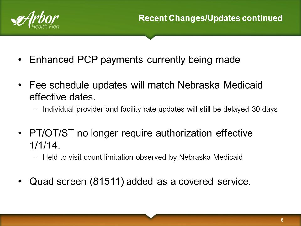 Recent Changes/Updates continued Enhanced PCP payments currently being made Fee schedule updates will match Nebraska Medicaid effective dates. –Indivi