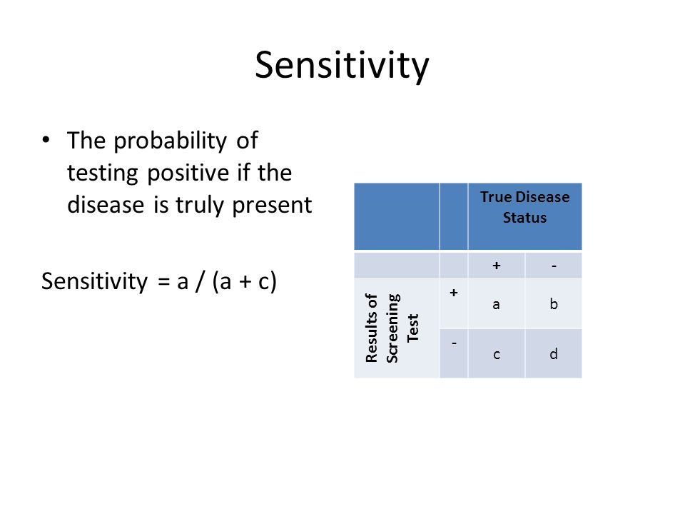 Sensitivity The probability of testing positive if the disease is truly present Sensitivity = a / (a + c) True Disease Status +- Results of Screening