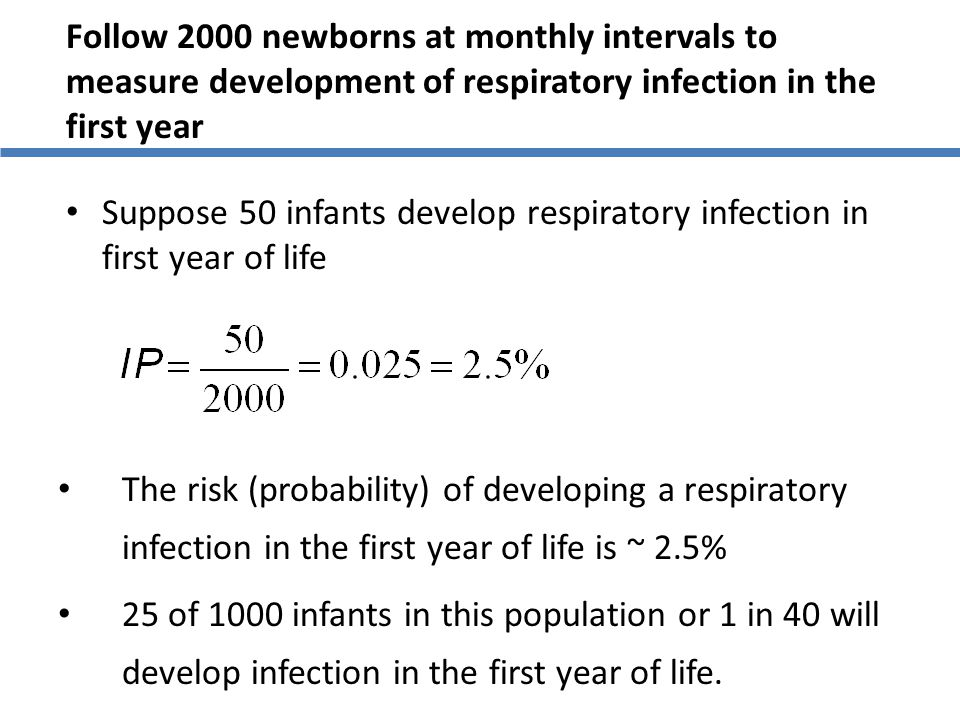 Follow 2000 newborns at monthly intervals to measure development of respiratory infection in the first year Suppose 50 infants develop respiratory inf