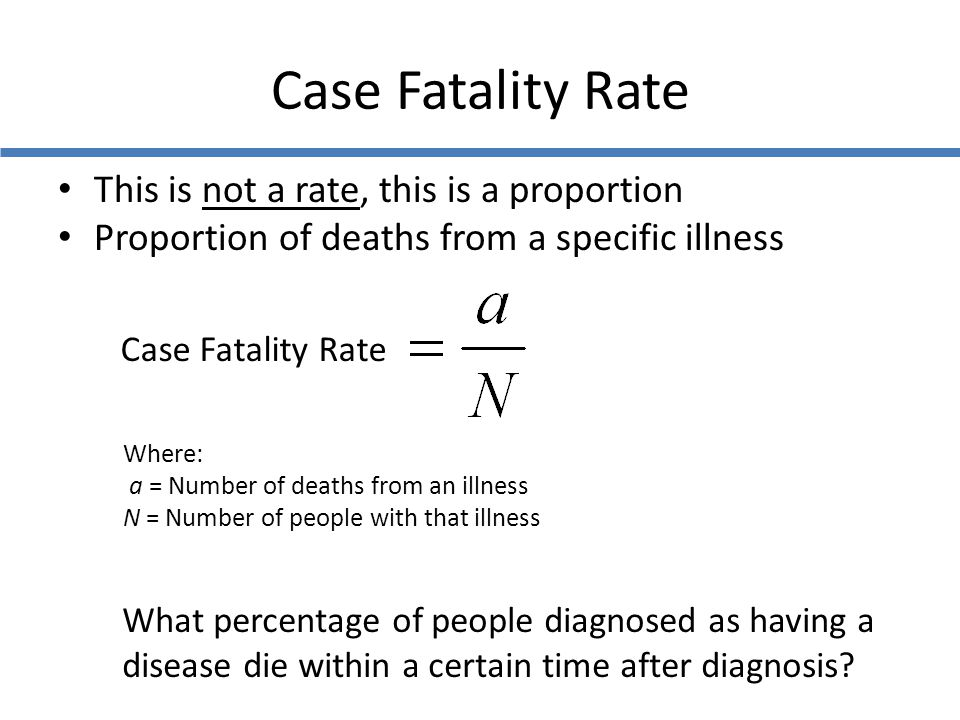 Case Fatality Rate This is not a rate, this is a proportion Proportion of deaths from a specific illness Where: a = Number of deaths from an illness N