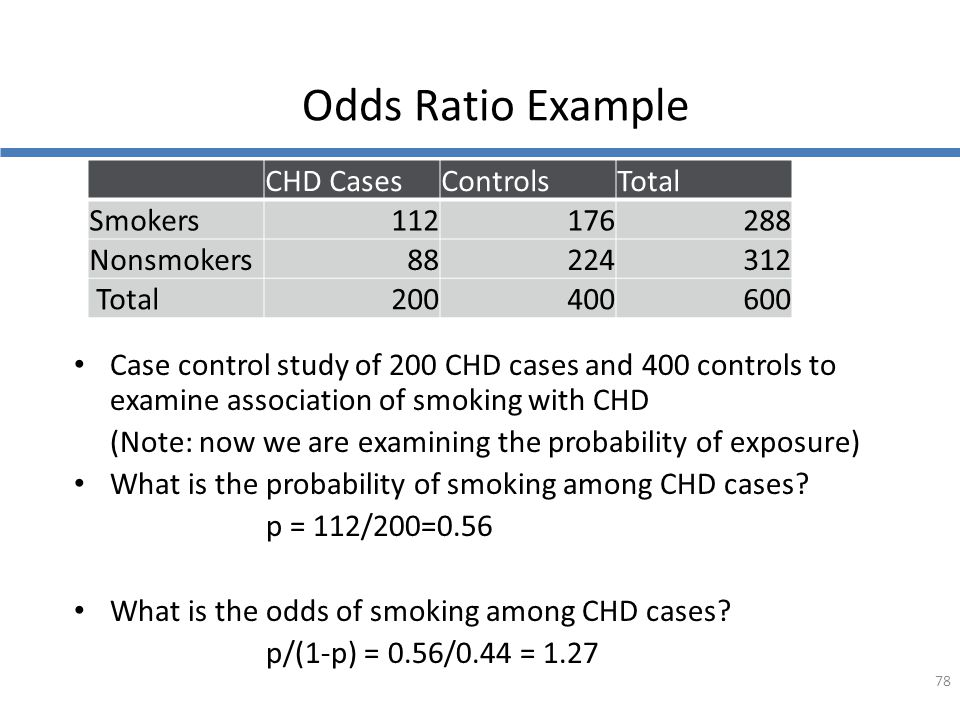 Odds Ratio Example Case control study of 200 CHD cases and 400 controls to examine association of smoking with CHD (Note: now we are examining the pro