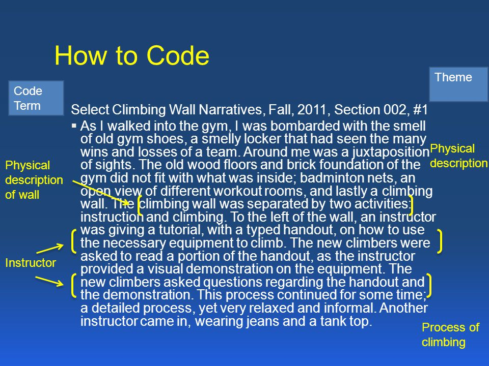 How to Code Select Climbing Wall Narratives, Fall, 2011, Section 002, #1  As I walked into the gym, I was bombarded with the smell of old gym shoes,