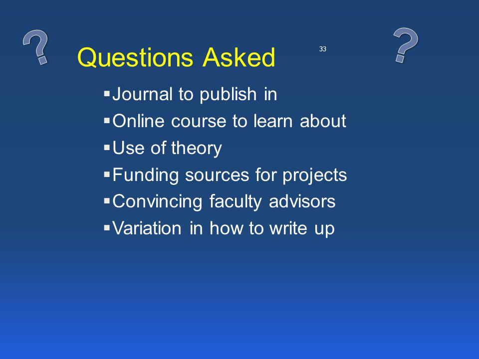 33 Questions Asked  Journal to publish in  Online course to learn about  Use of theory  Funding sources for projects  Convincing faculty advisors