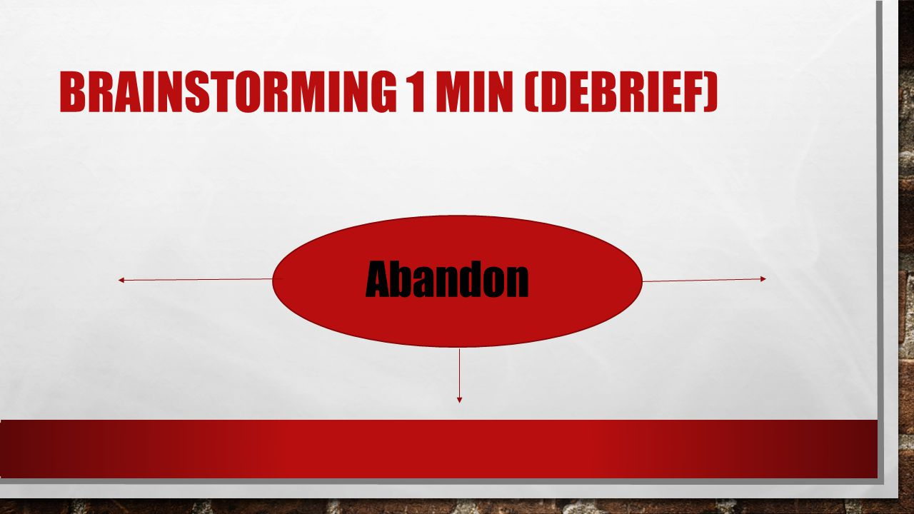 BRAINSTORMING 1 MIN (DEBRIEF) Abandon