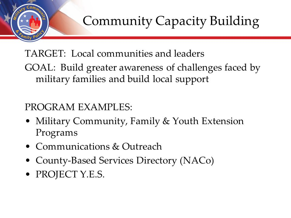 Community Capacity Building TARGET: Local communities and leaders GOAL: Build greater awareness of challenges faced by military families and build loc