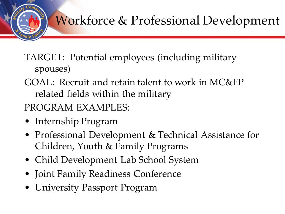 Workforce & Professional Development TARGET: Potential employees (including military spouses) GOAL: Recruit and retain talent to work in MC&FP related fields within the military PROGRAM EXAMPLES: Internship Program Professional Development & Technical Assistance for Children, Youth & Family Programs Child Development Lab School System Joint Family Readiness Conference University Passport Program