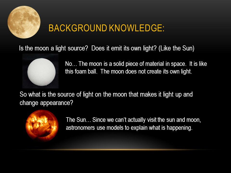 BACKGROUND KNOWLEDGE: Scientists believe that moonlight is light from the sun that shines onto the moon.
