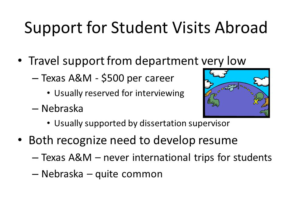 Support for Student Visits Abroad Travel support from department very low – Texas A&M - $500 per career Usually reserved for interviewing – Nebraska U