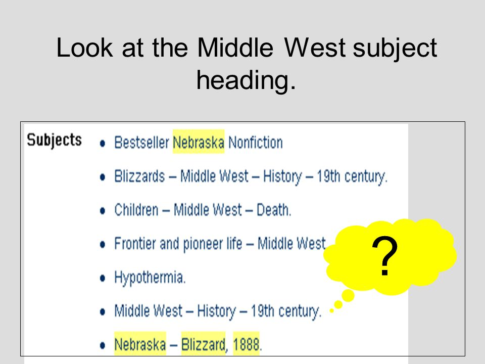 A closer look at The Children's Blizzard shows us that it has 7 subject headings.