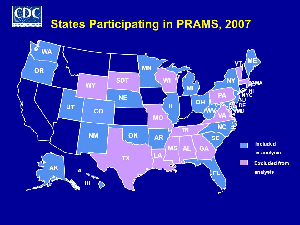 Prevalence of Entry into Prenatal Care During the First Trimester, PRAMS 2005 Range: AR 71.6 - NY 86.7HP 2010 Goal: 90%