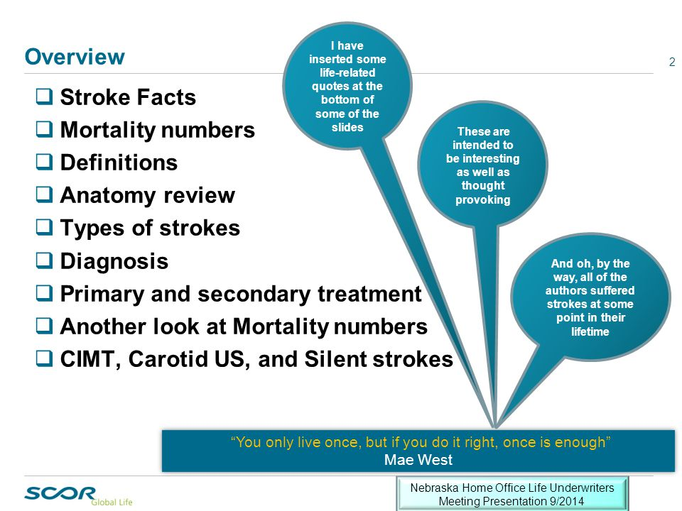 TIA—Making the diagnosis 23 Not all neurological symptoms are vascular in etiology Several important points here:  There are several potential etiologies for transient neurological events  If vascular compromise is of concern there ideally will be results of a typical diagnostic work-up for underwriter review to assess mortality risk Several important points here:  There are several potential etiologies for transient neurological events  If vascular compromise is of concern there ideally will be results of a typical diagnostic work-up for underwriter review to assess mortality risk Nebraska Home Office Life Underwriters Meeting Presentation 9/2014