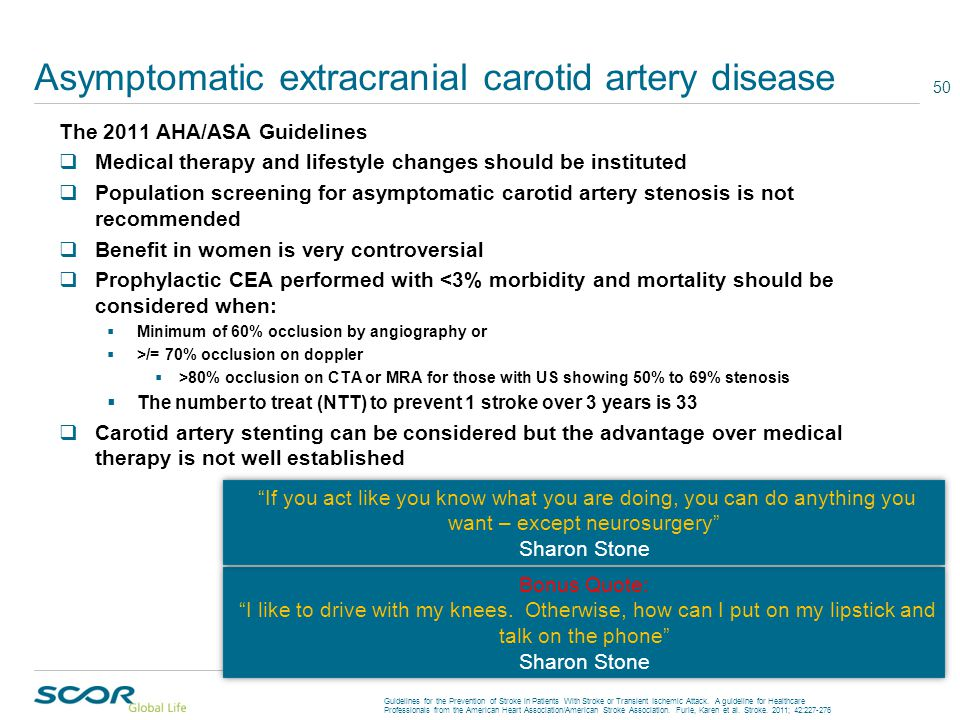 Asymptomatic extracranial carotid artery disease The 2011 AHA/ASA Guidelines  Medical therapy and lifestyle changes should be instituted  Population