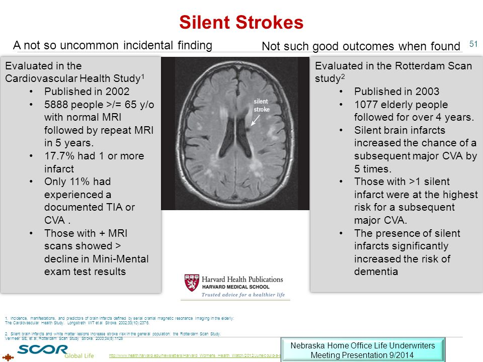 51 http://www.health.harvard.edu/newsletters/Harvard_Womens_Health_Watch/2012/June/could-a-silent-stroke-erode-your-memory Evaluated in the Rotterdam