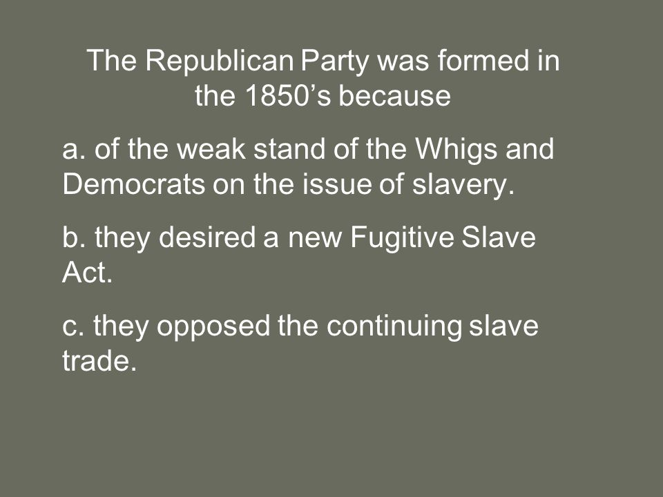 The Republican Party was formed in the 1850's because a.