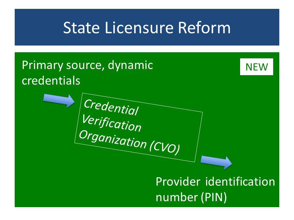 State Licensure Reform Credential Verification Organization (CVO) Primary source, dynamic credentials Provider identification number (PIN) NEW