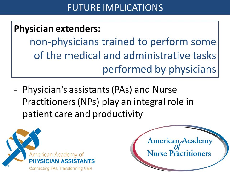 FUTURE IMPLICATIONS -Physician's assistants (PAs) and Nurse Practitioners (NPs) play an integral role in patient care and productivity Physician extenders: non-physicians trained to perform some of the medical and administrative tasks performed by physicians