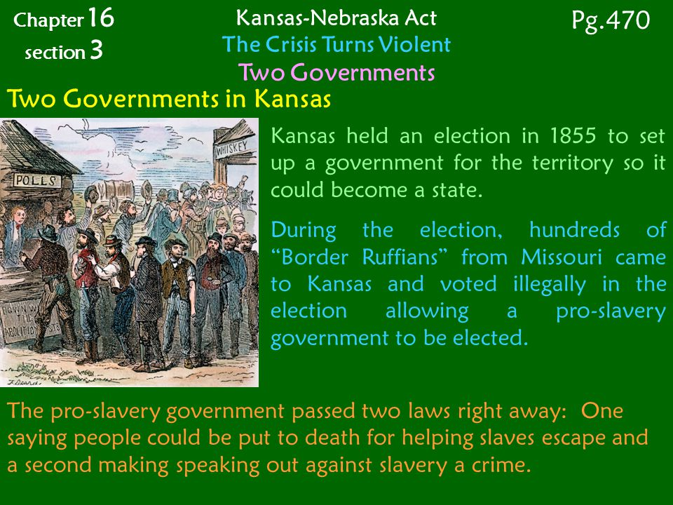 Two Governments in Kansas Kansas held an election in 1855 to set up a government for the territory so it could become a state.
