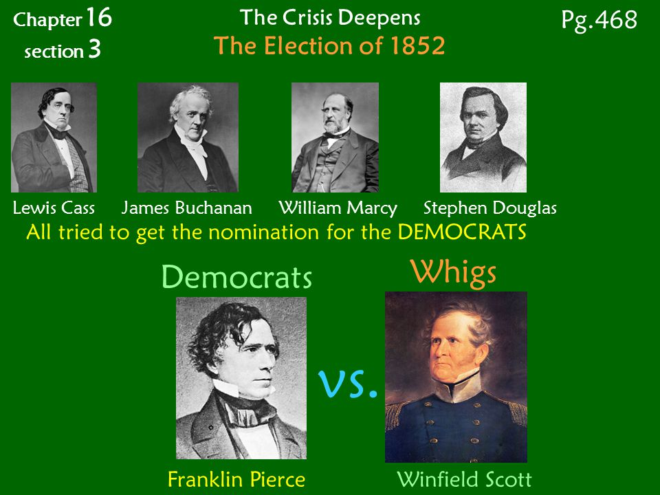 Franklin Pierce Winfield Scott Chapter 16 section 3 Pg.468 The Crisis Deepens The Election of 1852