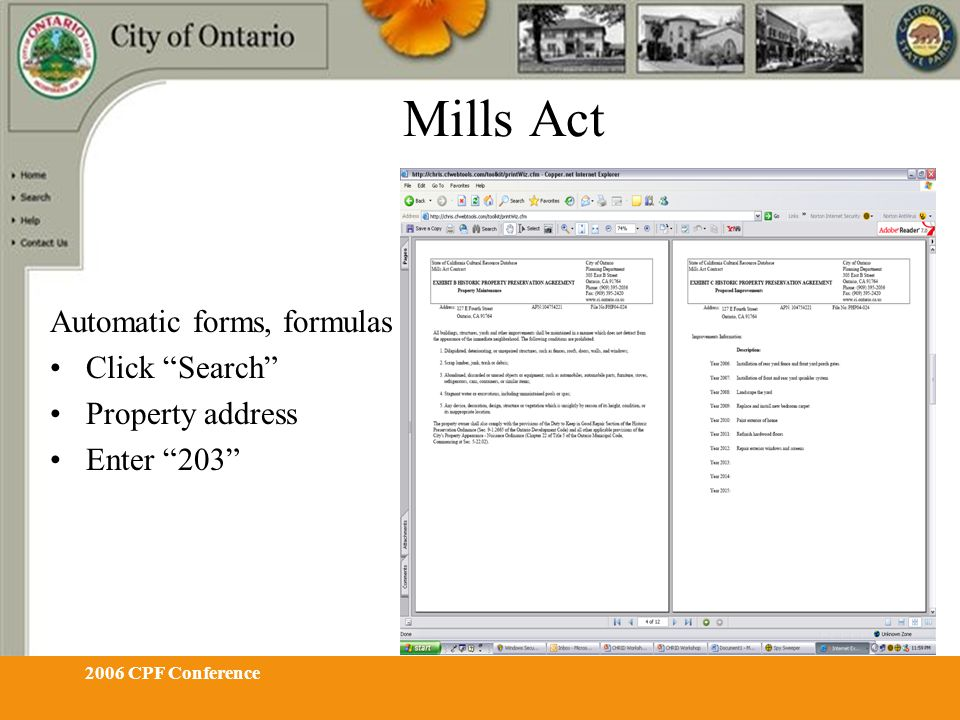 "2006 CPF Conference Mills Act Automatic forms, formulas Click ""Search"" Property address Enter ""203"""