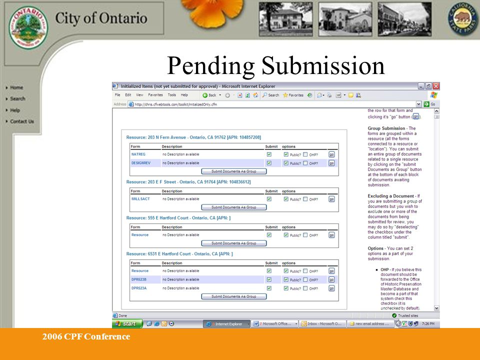 2006 CPF Conference Pending Submission
