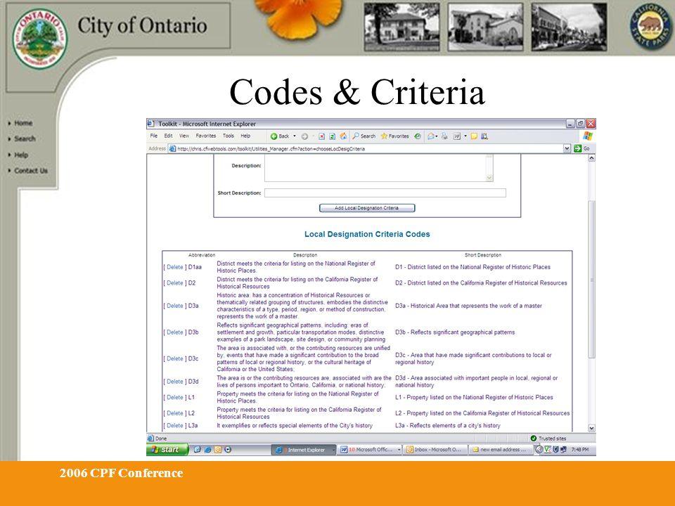 2006 CPF Conference Codes & Criteria