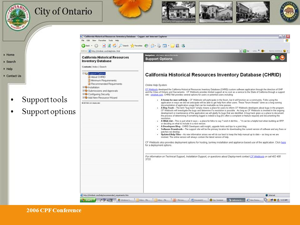2006 CPF Conference Support tools Support options