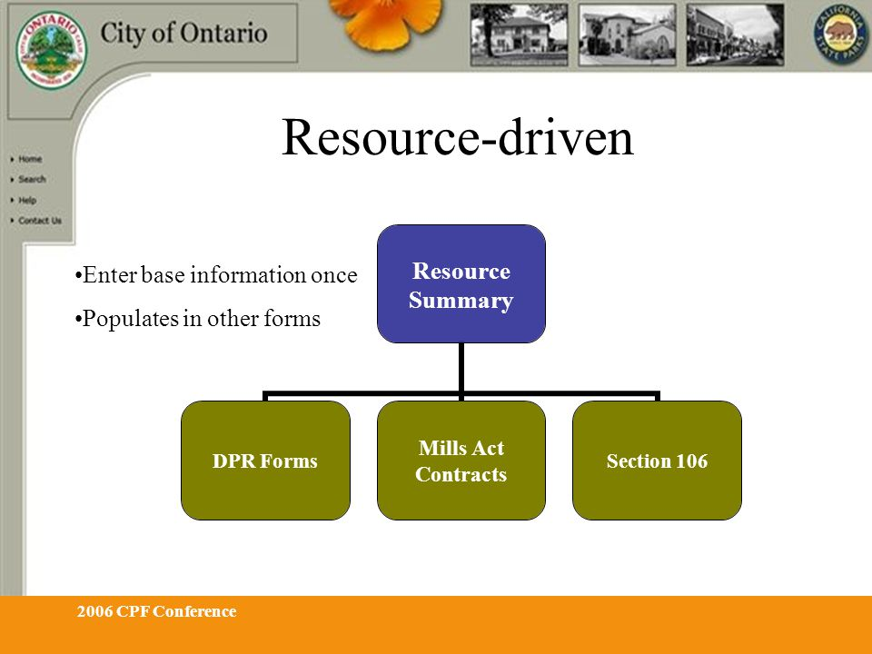 2006 CPF Conference Resource-driven Resource Summary DPR Forms Mills Act Contracts Section 106 Enter base information once Populates in other forms