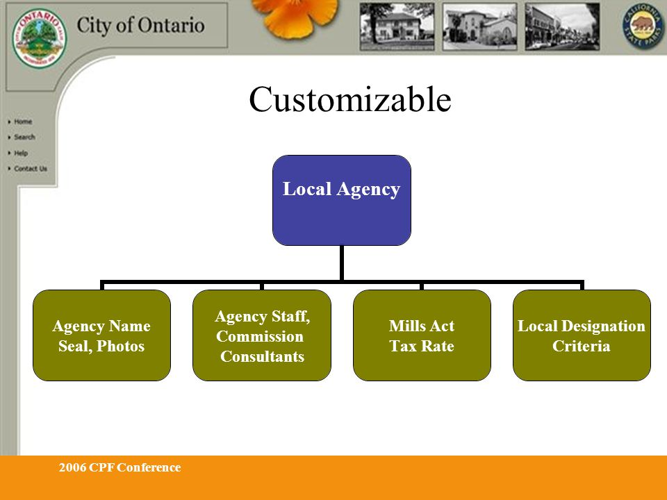 2006 CPF Conference Customizable Local Agency Agency Name Seal, Photos Agency Staff, Commission Consultants Mills Act Tax Rate Local Designation Crite