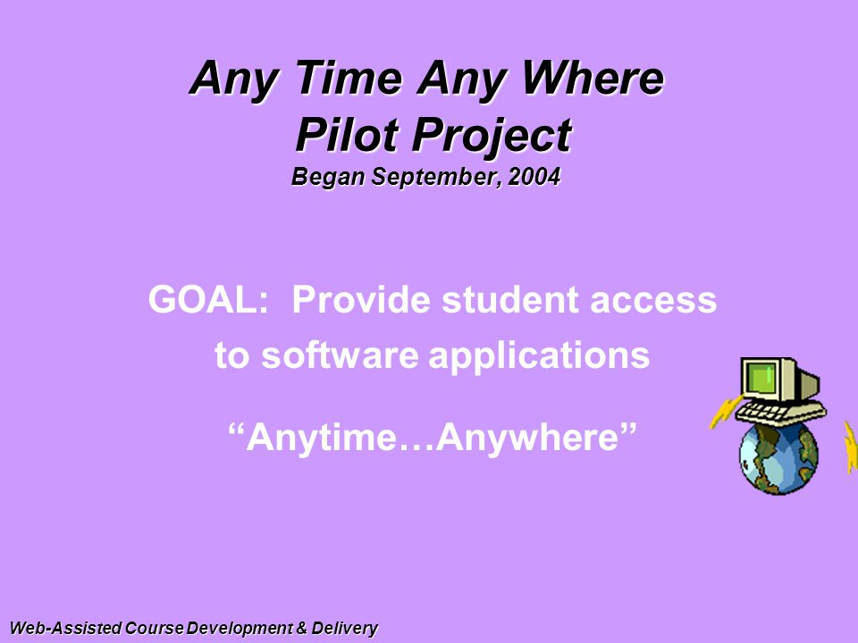 Any Time Any Where Pilot Project Began September, 2004 GOAL: Provide student access to software applications Anytime…Anywhere Web-Assisted Course Development & Delivery