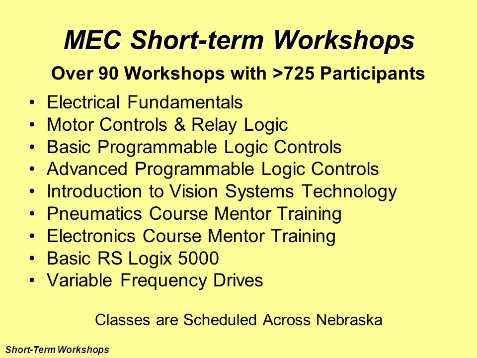 MEC Short-term Workshops Over 90 Workshops with >725 Participants Electrical Fundamentals Motor Controls & Relay Logic Basic Programmable Logic Controls Advanced Programmable Logic Controls Introduction to Vision Systems Technology Pneumatics Course Mentor Training Electronics Course Mentor Training Basic RS Logix 5000 Variable Frequency Drives Classes are Scheduled Across Nebraska Short-Term Workshops