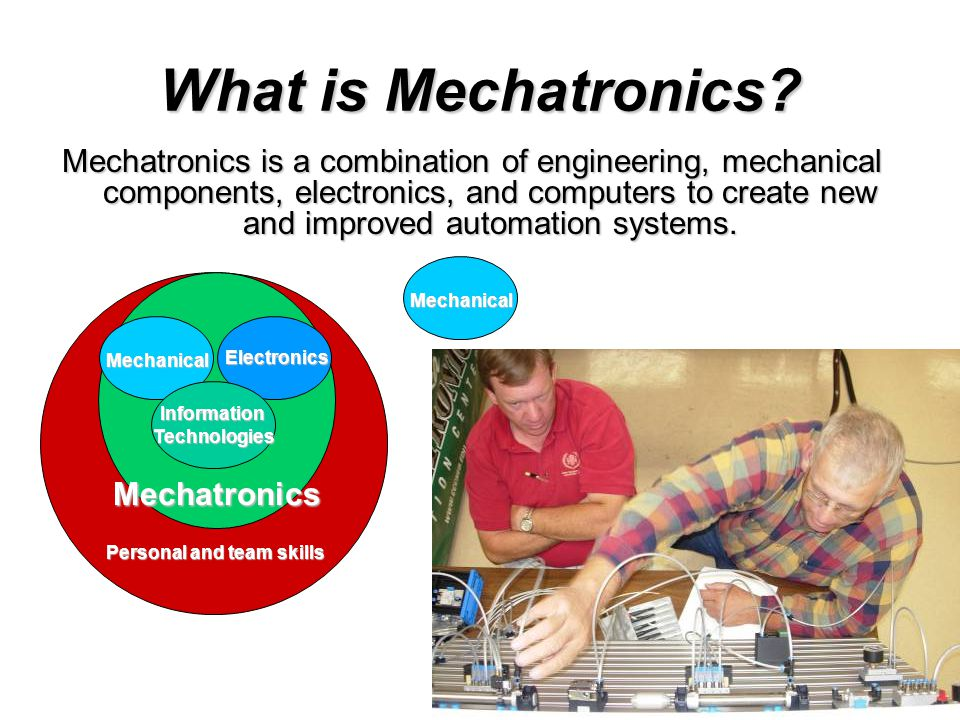 What is Mechatronics? Mechatronics is a combination of engineering, mechanical components, electronics, and computers to create new and improved autom