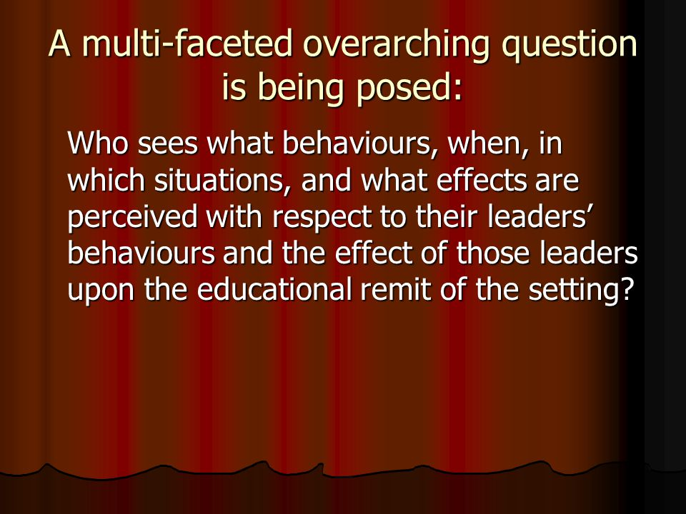 A multi-faceted overarching question is being posed: Who sees what behaviours, when, in which situations, and what effects are perceived with respect