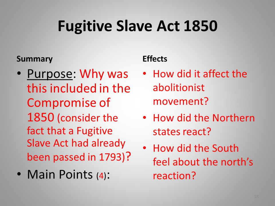 Fugitive Slave Act 1850 Summary Purpose: Why was this included in the Compromise of 1850 (consider the fact that a Fugitive Slave Act had already been passed in 1793) .