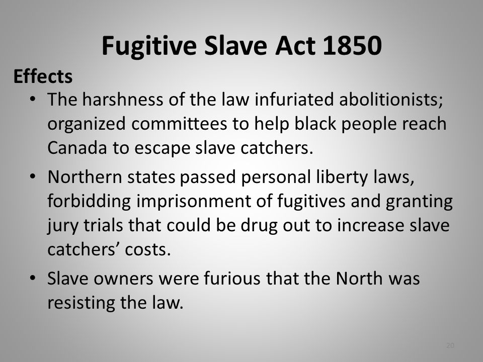 Fugitive Slave Act 1850 The harshness of the law infuriated abolitionists; organized committees to help black people reach Canada to escape slave catchers.